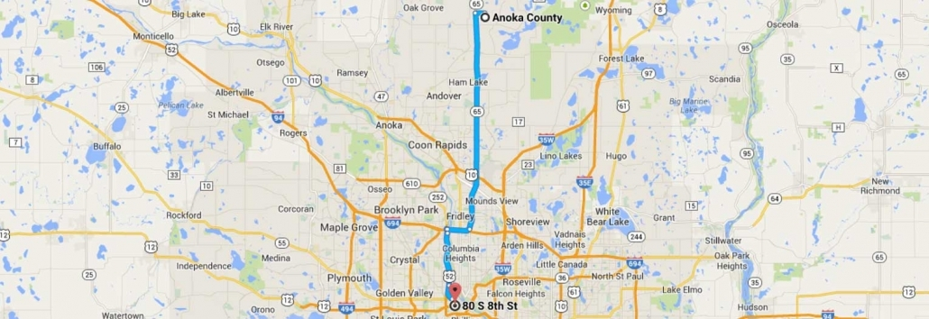 Anoka County Directions to Halunen Law Minneapolis