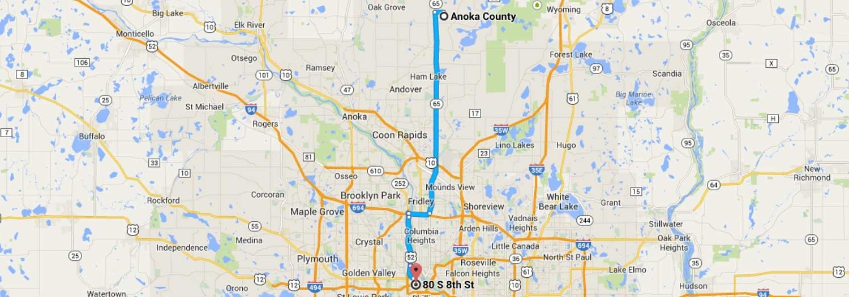 Anoka County Directions to Halunen Law Minneapolis