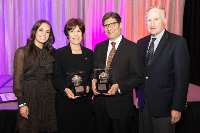 Pictured Left to Right: Melissa Weiner, 2018 Arthur T. Pfefer Memorial Award recipient; Karen Schanfield, 2018 Sidney Barrows Lifetime Commitment Award recipient; Robert Aronson, 2018 Sidney Barrows Lifetime Commitment Award recipient; Bob Barrows, Chair of the Sidney Barrows Lifetime Commitment Award Selection Committee