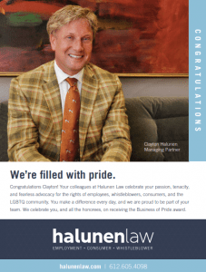 Clayton Halunen - Business of Pride Award Cover